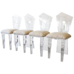 Postmodern Abstract Lucite Dining Chairs, Set of Four