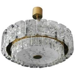 Large Mid-Century Modern Modernist Doria Crystal Glass Chandelier