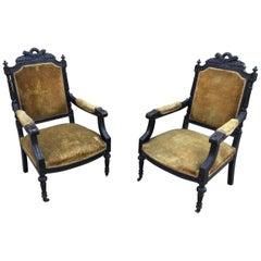Pair of Blackened Wood Armchairs Louis XVI Style Napoleon III Period