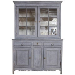 19th Century Large Painted Blue Cabinet with Glass Doors, France, circa 1850