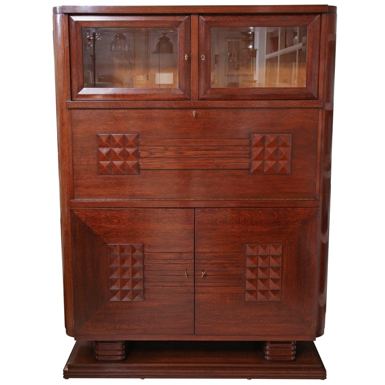 Solid Oak Art Deco Cabinet by Charles Dudouyt