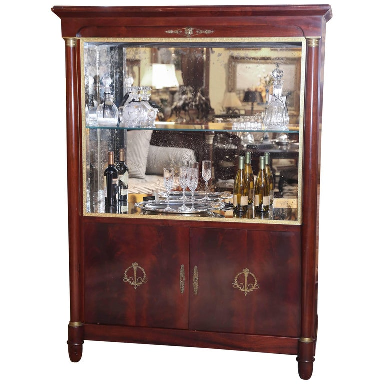 Empire Style Bar or Display Cabinet in Mahogany with Gilt Accents