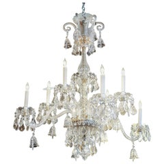 Monumental Italian Clear Crystal Eight-Light Chandelier with Drop Prism Accents