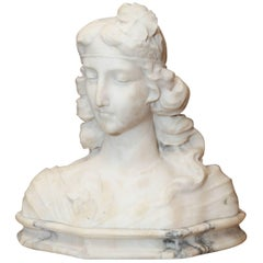 Art Nouveau Female Bust Carved in Carrara Marble