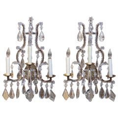 French Crystal and Bronze Three-Light Sconces with Beads of Crystal
