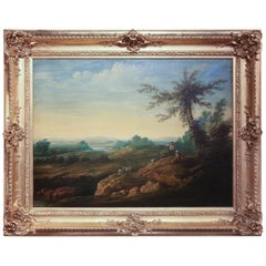 French Oil on Canvas Depicting Shepherds in Pastoral Landscape