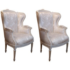 Pair of French Louis XVI Style Wing Back Chairs