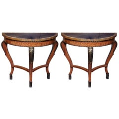 Pair of Demilune Consoles with Faux Painted Top and Gilt Accents
