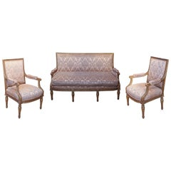 French Louis XVI Giltwood Salon Set, 19th Century with Settee and Two Armchairs
