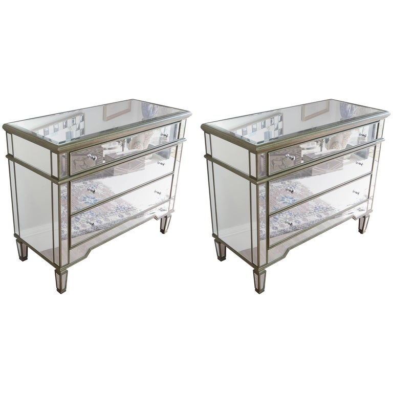 Pair of Vintage Mirrored Dressers