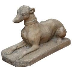 Vintage Reclining Greyhound Sculpture