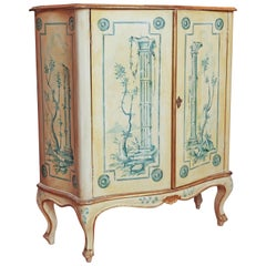 Vintage Italian Hand-Painted Bar Cabinet