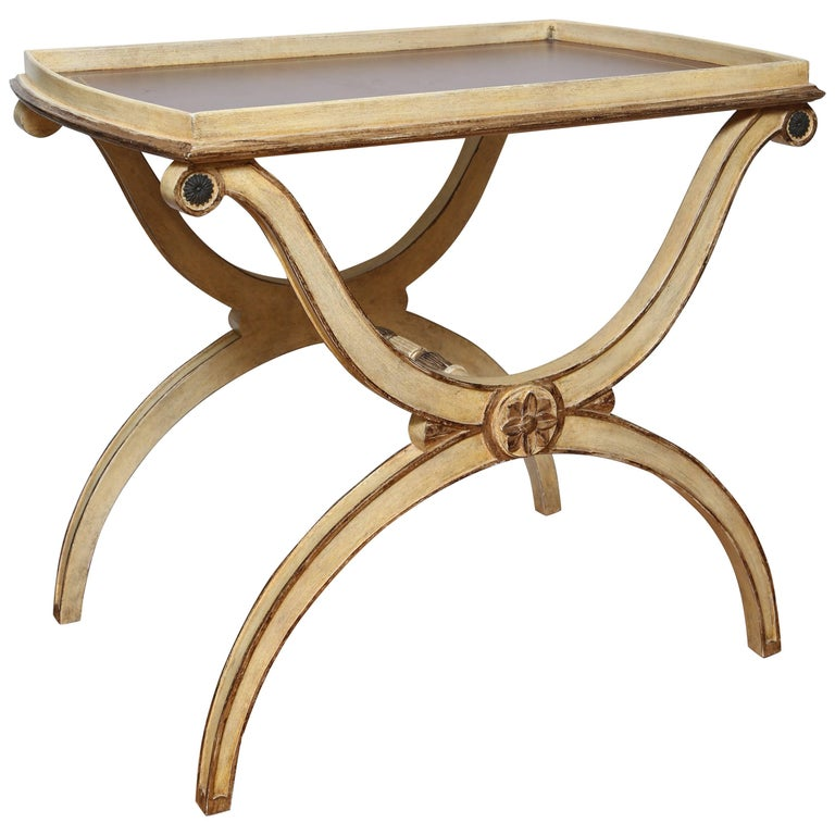 Italian Embossed Leather Top Tray Table/Bar