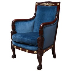 French Empire Mahogany Bergere