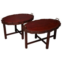 Two English Mahogany Trays on Stands