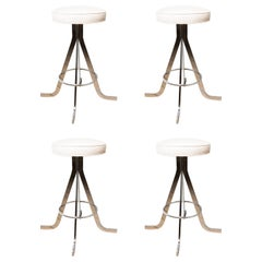 Set of Four Polished Nickel Stools with Upholstered Circular Seats