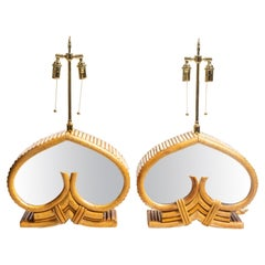 Pair of Bamboo Table Lamps with Mirrored Glass Detail