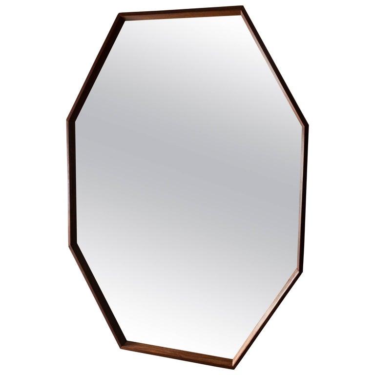Octagonal Walnut Surround Mirror
