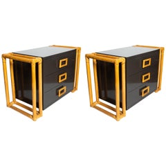 Pair of Charcoal Grey Night or Side Chests with Unusual Rattan Details