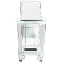 Lucite Rolling Cart Featuring Two Mirrored Shelves