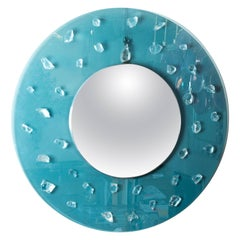 Circular Blue Glass Surround Mirror with Applied Glass Fragments