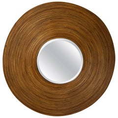 Large Circular Beveled Mirror with Bamboo Red Surround