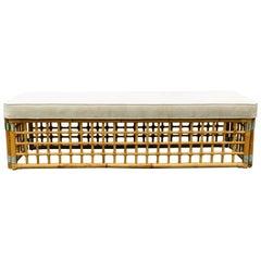 Rectangular Upholstered Bench with Bamboo Lattice Base Design