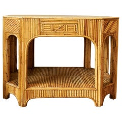Rattan and Reed Console with Single Drawer and Bottom Shelf