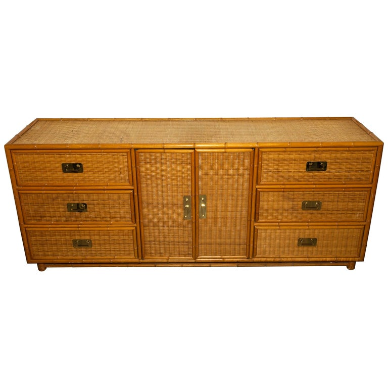 Bamboo and Reed Cabinet with Brass Hardware