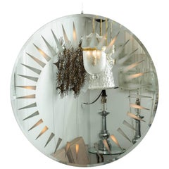 Circular Backlit Mirror with Sunburst Motif