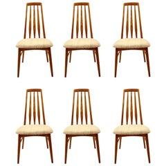 Danish Modern Solid Teak Set of Six Dining Eva Chairs by Niels Koefoed