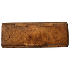 Small Burl Walnut Cigarette Case, Early 20th Century