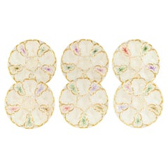 Set of 6 Limoges S & S Oyster Plates With Hand Painted Seaweed & Gilt Decoration