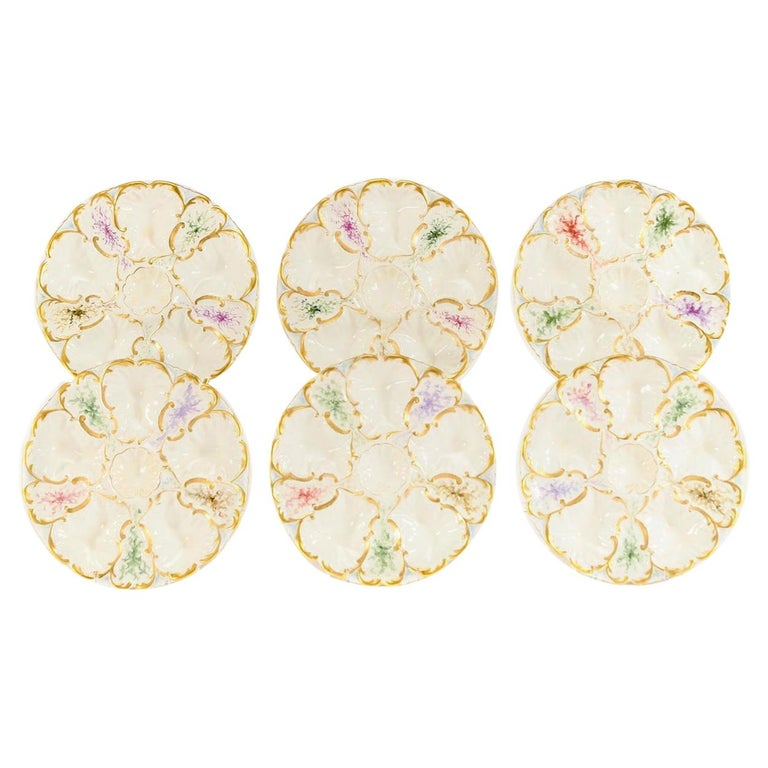 Set of 6 Limoges S & S Oyster Plates With Hand Painted Seaweed & Gilt Decoration For Sale