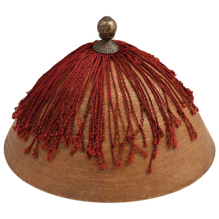 19th Century Qing Dynasty Man's Wicker Summer Hat and Leather Hat Box, China