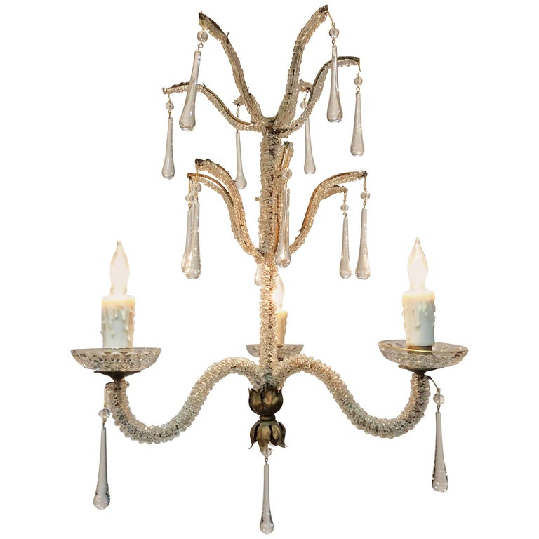 Early 20th Century Italian Crystal and Tole Chandelier
