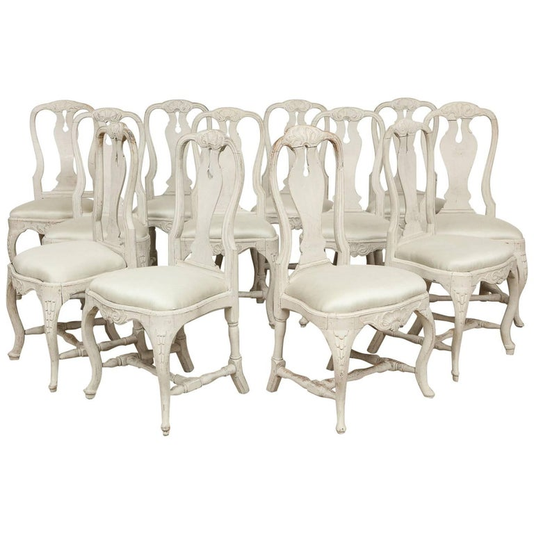 Swedish Rococo Dining Chairs, Set of 12, circa 1765