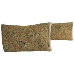 Pair of Persian Antique Textile Lumbar Yellow and Green Decorative Pillows