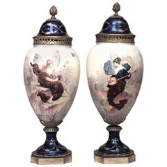 Pair of French Art Nouveau Enamel and Sevres Porcelain Vases