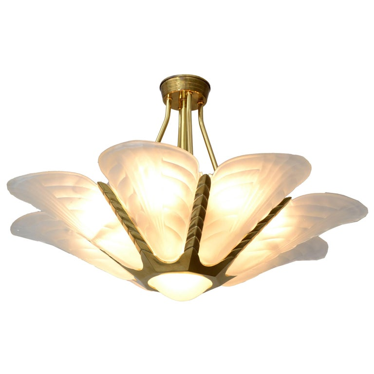 French Art Deco Slip Shade Chandelier