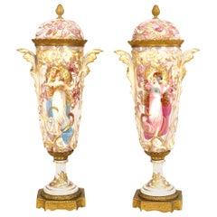 Pair of French Art Nouveau Sèvres Porcelain Vases
