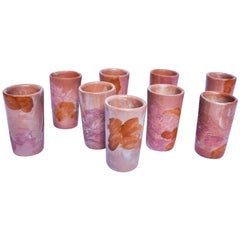 Modern Mexican Tequila Ceramic Shot Glasses Majolica Technique