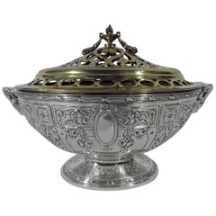 Antique American Neoclassical Sterling Silver Flower Bowl with Frog