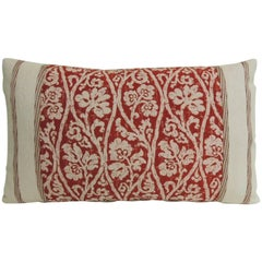 CLOSE OUT SALE: Vintage Hand-Blocked Red and Pink Lumbar Decorative Pillow