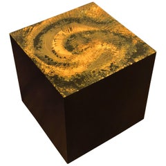 Mid-Century Modern Pedestal Cube Table Psychedelic Resin Top