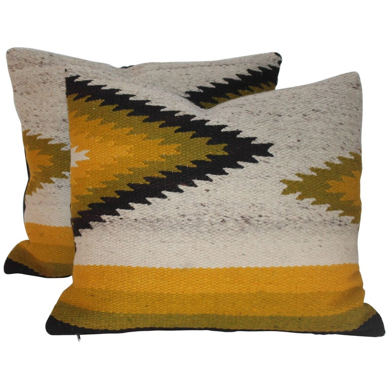 Pair of Navajo Indian Weaving Geometric Pillows