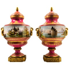 French 19th Century Sevres Style Bronze-Mounted Pink Color Porcelain Vases, Pair