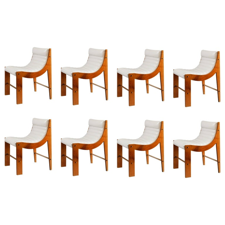 Set of Eight Cherrywood and Leather Chairs