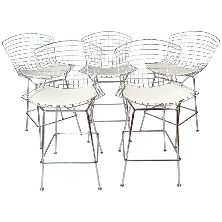 Harry Bertoia for Knoll Chrome Wire Bar Stools, Set of Five