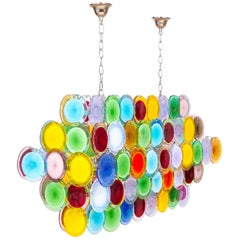 Italian Venetian Handcrafted Blown Murano Glass, Modern Multicolored Discs